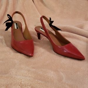 Sexy patent red high-heeled sling back shoes